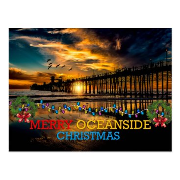 Merry Oceanside Christmas Postcard