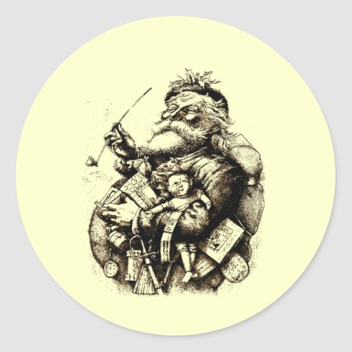 Merry Old Santa Claus Classic Round Sticker
