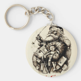 Merry Old Santa Claus Season's Greetings Keychain