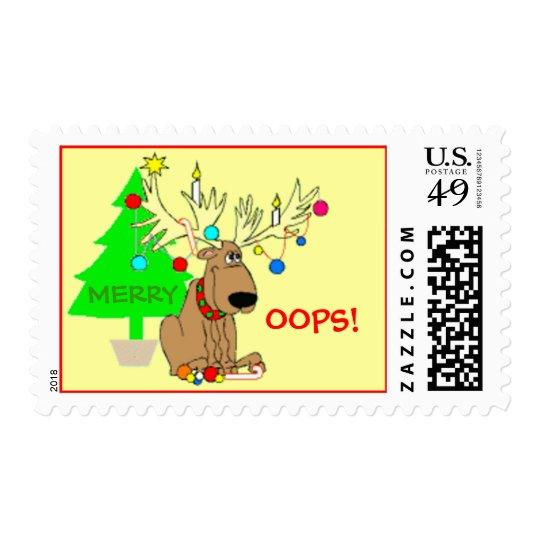 Merry Oops Funny Reindeer Christmas Tree Lights Postage