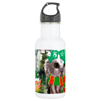 Merry Owlmas Holiday Water Bottle