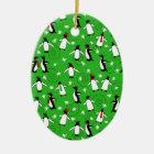 Merry Penguins Ceramic Ornament