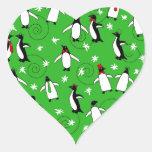 Merry Penguins Heart Sticker