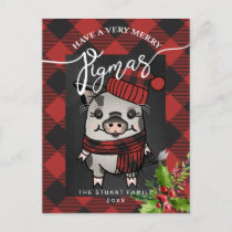 Merry Pigmas Buffalo Plaid Holiday Postcard
