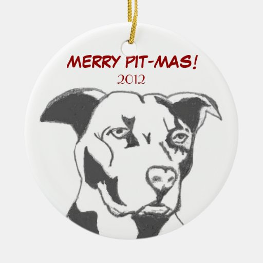 MERRY PIT-MAS! Double-Sided CERAMIC ROUND CHRISTMAS ORNAMENT