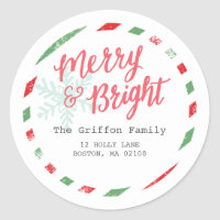 Merry Postage Collection Classic Round Sticker