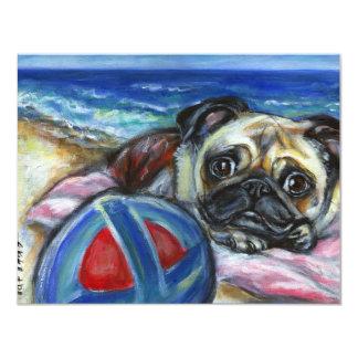 Merry Pug at the beach Card