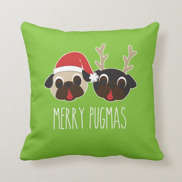 Merry Pugmas Christmas Pillow Reindeer & Santa Pug