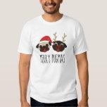 Merry Pugmas Christmas Pug - Santa & Reindeer T-shirts