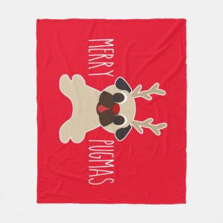 Merry Pugmas Pug Reindeer Fleece