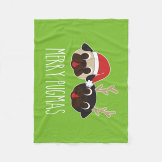 Merry Pugmas Pug Santa Pug Reindeer Fleece Blanket