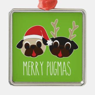Merry Pugmas Pug Santa Reindeer Ornament