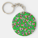 Merry Pugs (Green) Keychain