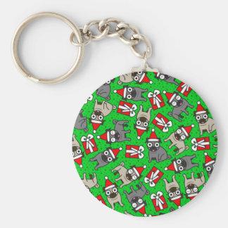 Merry Pugs (Green) Keychain