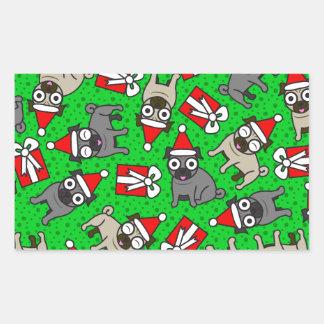 Merry Pugs (Green) Rectangular Sticker