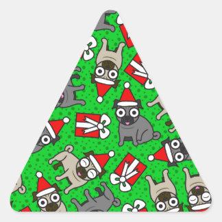 Merry Pugs (Green) Triangle Sticker