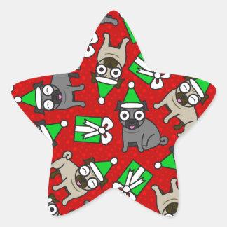Merry Pugs (red) Star Sticker