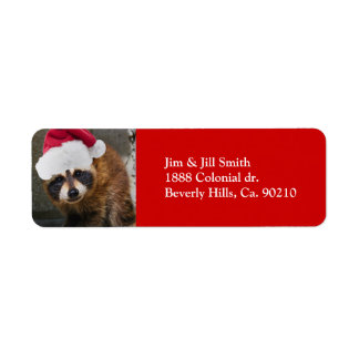 Merry Raccoon Christmas Label