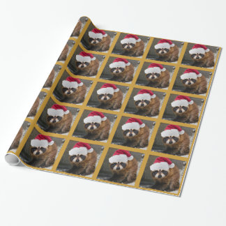 Merry Raccoon Santa Hat Christmas Wrapping Paper