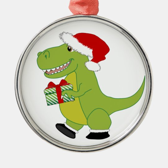 Merry Rexmas T-Rex Metal Ornament