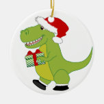 Merry Rexmas T-Rex Double-Sided Ceramic Round Christmas Ornament
