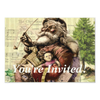 Merry Santa Claus and The Christmas Tree Card
