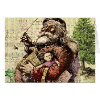 Merry Santa Claus Christmas Tree Vintage Card
