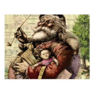 Merry Santa Claus Christmas Tree Vintage Postcard