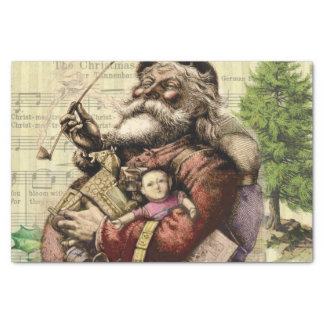 Merry Santa Claus Christmas Tree Vintage Tissue Paper