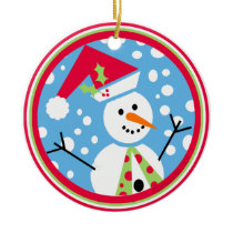 Merry Santa Hat Snowman Ornament