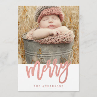 Merry Script Faux Rose Gold Foil Holiday Photo