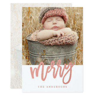 Merry Script Faux Rose Gold Foil Holiday Photo Card
