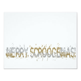 Merry Scroogemas, Silver and Gold 4.25x5.5 Paper Invitation Card
