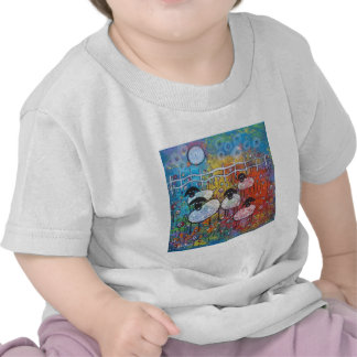 Merry Sheep In The Flowers T-shirts