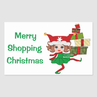 Merry Shopping Christmas Rectangle Stickers