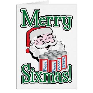 Merry Sixmas! Santa Loves A Six Pack! Card