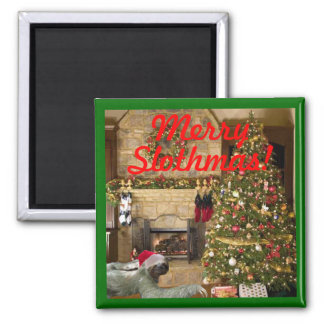 Merry Slothmas 2 Inch Square Magnet