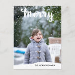 "Merry Snowfall Collection Photo Postcard<br><div class=""desc"">Send your loved ones a modern holiday photo postcard this year.  photo courtesy of: © Storytree Studios,  Stanford,  CA</div>"