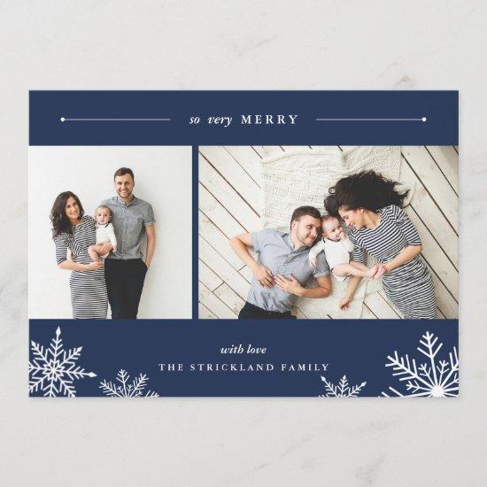 Merry Snowflake Holiday Photo Card | Navy