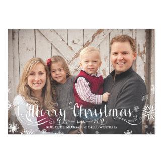 Merry Snowflakes Family Christmas Photo Card