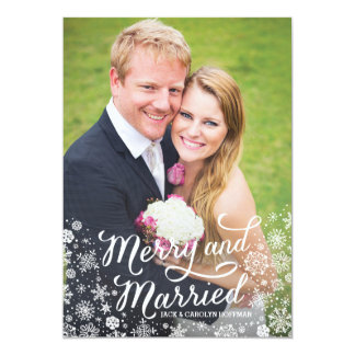 Merry Snowflakes Newlywed Christmas Photo Card