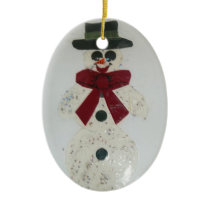 Merry Snowman-2 Ceramic Ornament