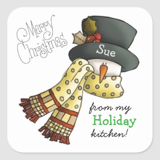 Merry Snowman Custom Holiday Baking Stickers