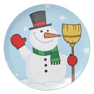 Merry Snowman plate