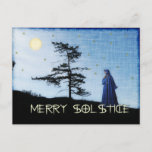 "Merry Solstice Night Holiday Postcard<br><div class=""desc"">Female figure in hooded cloak on a hill with full moon,  gold stars,  and a solitary winter evergreen. The words wish you a ""Merry Solstice.""</div>"