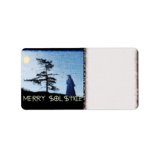 Merry Solstice Night Address Label