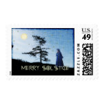 Merry Solstice Night Postage Stamp