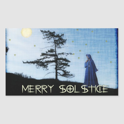 Merry Solstice Night Rectangular Sticker