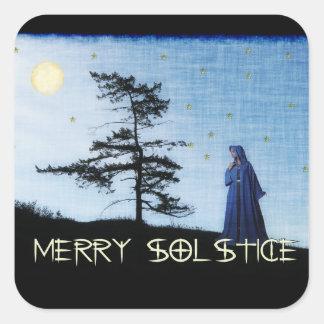 Merry Solstice Night Square Sticker