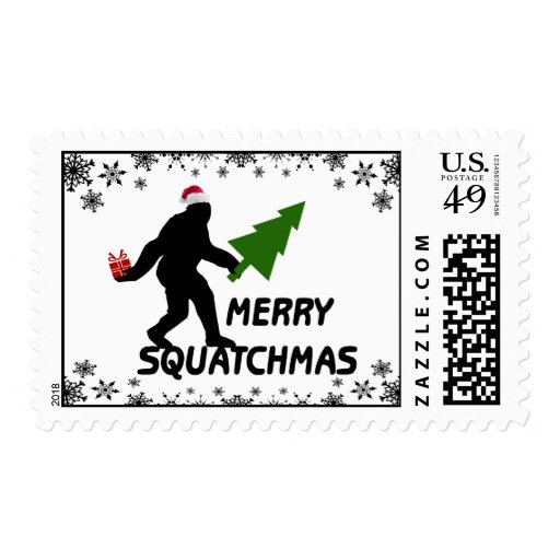 Merry Squatchmas Postage Stamps